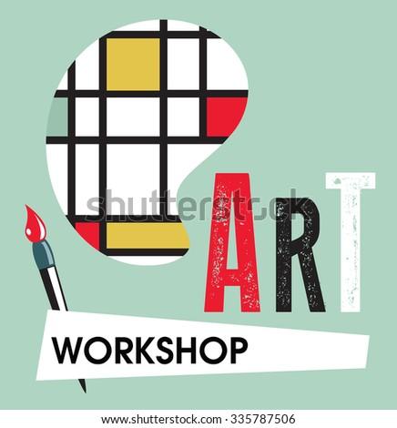 Art Workshop Template Design - stock vector