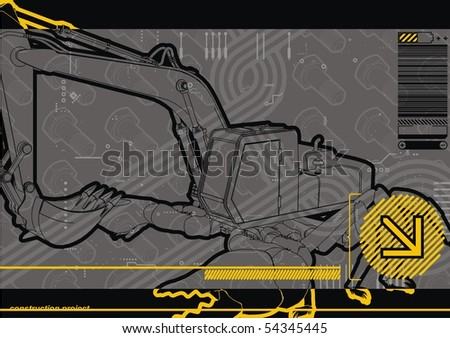 Arthropod construction digger hybrid. - stock vector