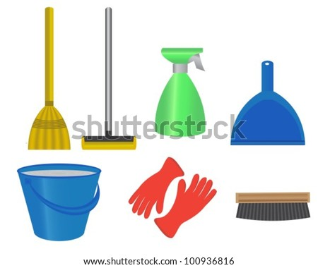 articles for cleaning the room, a bucket of water, mop, broom, brush, rubber gloves for washing and dustpan - stock vector