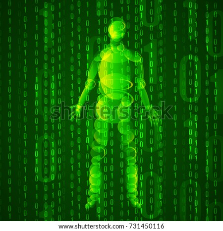 Artificial Intelligence: abstract green VECTOR background: 1 and 0 and standing man glowing silhouette