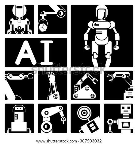 Artificial intelligence (AI), vector set of robot icons  - stock vector
