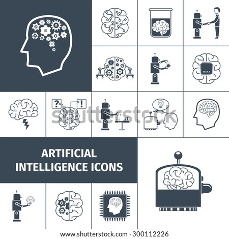 Artificial intelligence and digital brain icons black set isolated vector illustration - stock vector