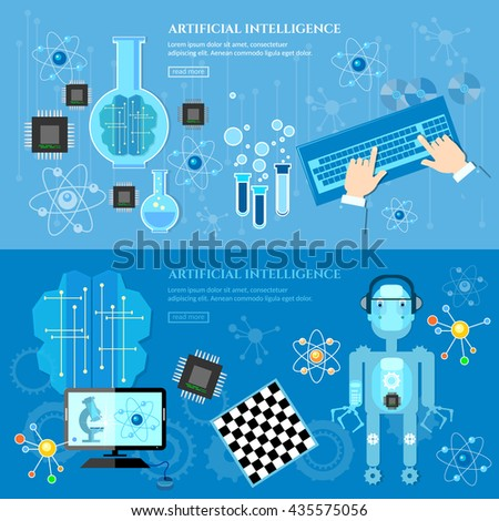 Artificial Intelligence banner creation of robots future technology vector illustration - stock vector