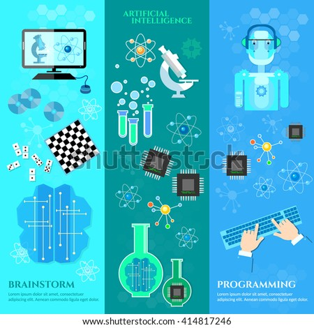 Artificial intelligence banners modern robot microchips development of robot programming vector illustration - stock vector