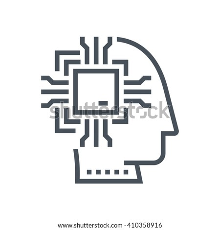 Artificial intelligence icon suitable for info graphics, websites and print media and  interfaces. Line vector icon. - stock vector
