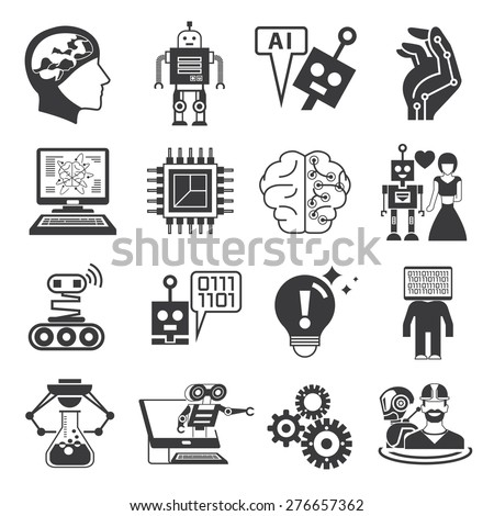 artificial intelligence icons, AI icons, robot icons set - stock vector