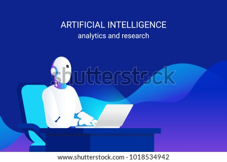 Artificial intelligence working for big data analysis and calculation and machine learning. Gradient vector illustration of futuristic robot working with laptop doing ai data analytics and research