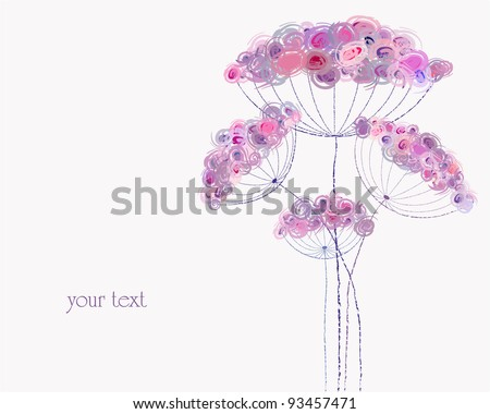 artificial pastel flower illustration, free copy space, spring flowers - stock vector
