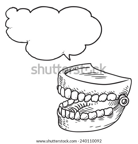 Artificial teeth speaking - stock vector