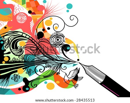 Artist at work - stock vector