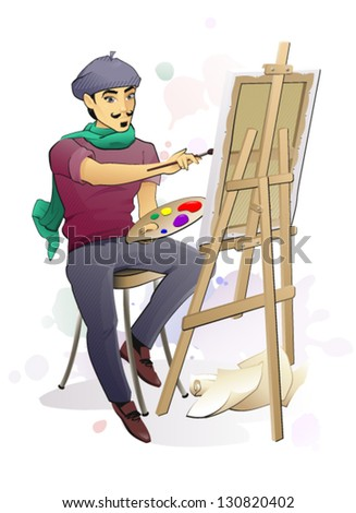 Artist at Work/ The vector illustration of the Artist Painting a Canvas on an Easel - stock vector
