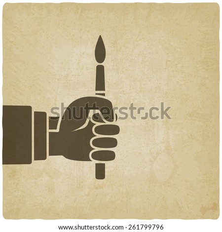 artist hand with brush old background - vector illustration. eps 10 - stock vector