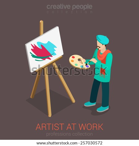 Artist painter at work easel palette flat 3d web isometric infographic concept vector template. Creative people professions collection. - stock vector