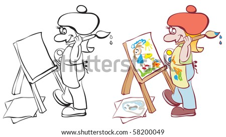 Artist painting at the easel. Contour and color - stock vector