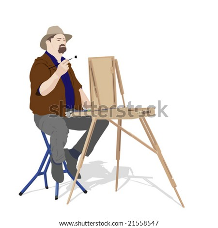 artist painting outdoors - stock vector