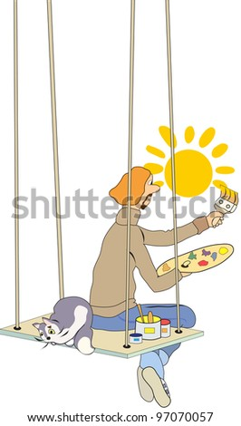 artist paints with a broad brush the sun sitting on the rafters with a cat - stock vector