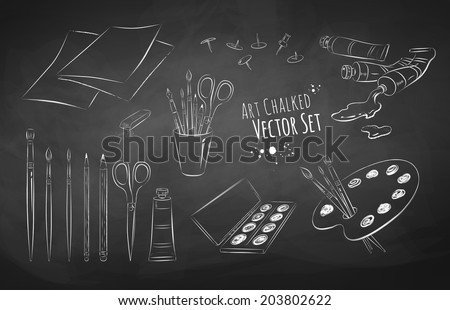 Artist's tools vector set. Isolated. EPS 10. - stock vector