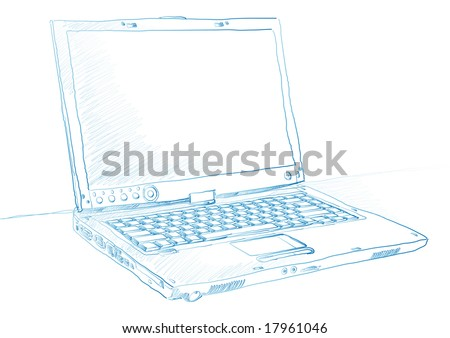 Artist sketch of a laptop in blue ink over a white background
