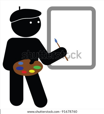 Artist with blank canvas for own text or graphics - stock vector