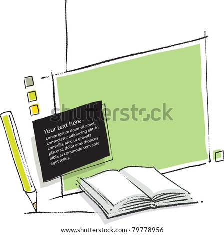 artistic background, open book and paper sheets motives - stock vector