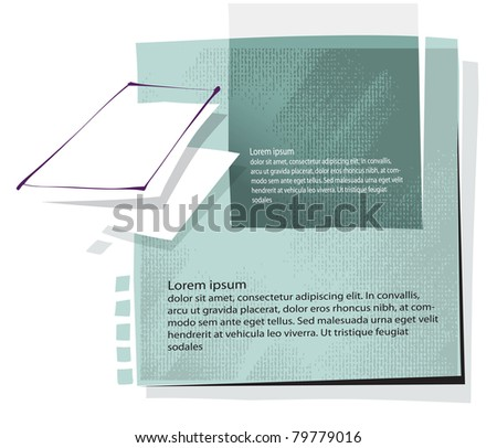 artistic background with documents motive (simplified freehand drawing) - stock vector