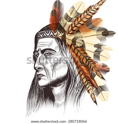 Artistic background with portrait of Indian leader in feathers - stock vector