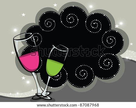 artistic background with set of wine glass - stock vector