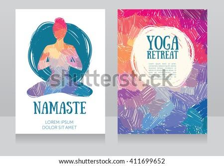 artistic cards template for yoga retreat or yoga studio, vector illustration - stock vector