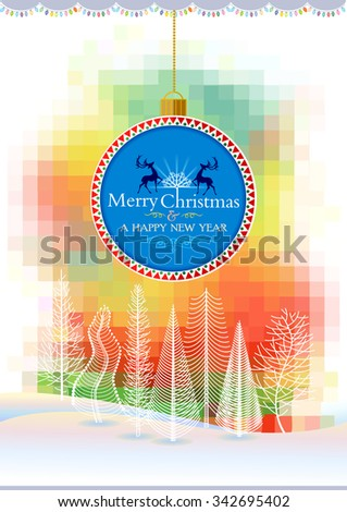 Artistic Christmas landscape with hanging bulb - stock vector