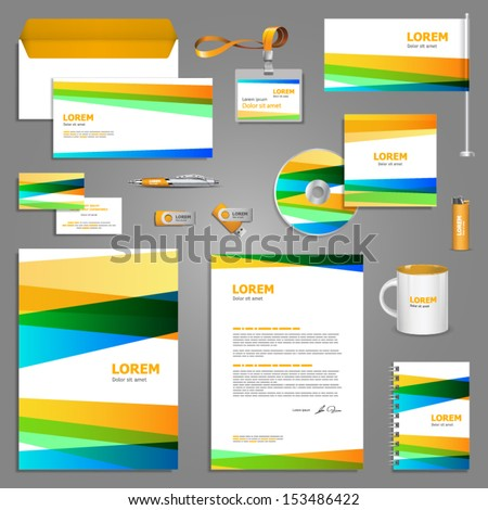 Artistic corporate identity template with color elements. Vector company style for brandbook and guideline. EPS 10 - stock vector