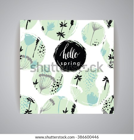 Artistic creative Hand Drawn spring  Design for poster, card, invitation, placard, brochure, flyer. Vector. - stock vector