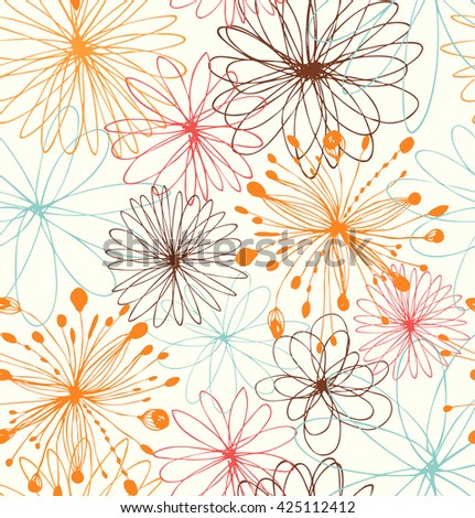 Artistic decorative drawn background with round fantasy shapes, flowers. Vector abstract pattern - stock vector