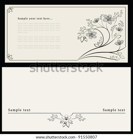 Artistic design of the invitation in the envelope E65. Flower decoration of the separator. Invitation card in three colors. - stock vector