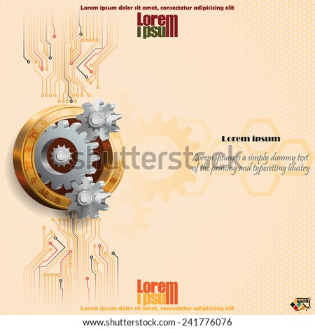 Artistic design of three dimensions cogwheels with electronic circuits, cog wheels inside golden ring imprint with tech symbols. - stock vector