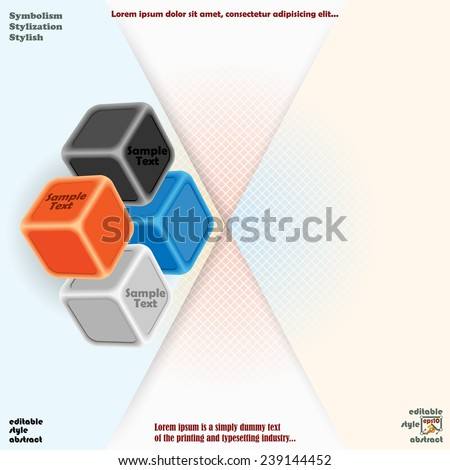 Artistic design of three dimensions cubes and diagonal stratification  background with squares. - stock vector