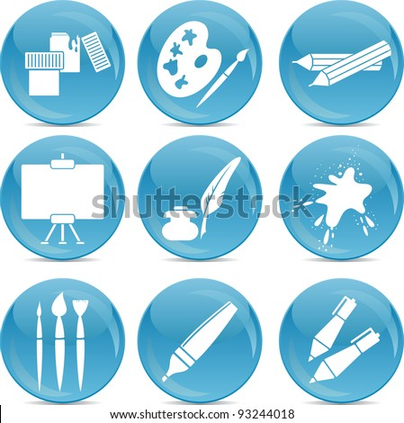 artistic drawing icons - stock vector