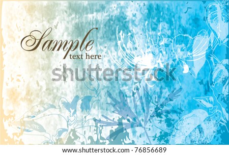 artistic floral & grunge background - stock vector