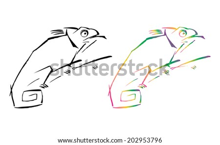 Artistic graphic illustration of black and colorful contour chameleons - stock vector