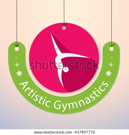 Artistic Gymnastics  - Colorful Paper Tag for Sports - stock vector