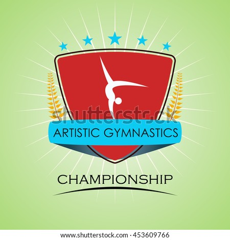 Artistic Gymnastics - Winner Golden Laurel Seal  - Layered EPS 10 Vector - stock vector