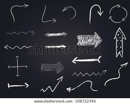 artistic hand drawn arrows set 2 - stock vector