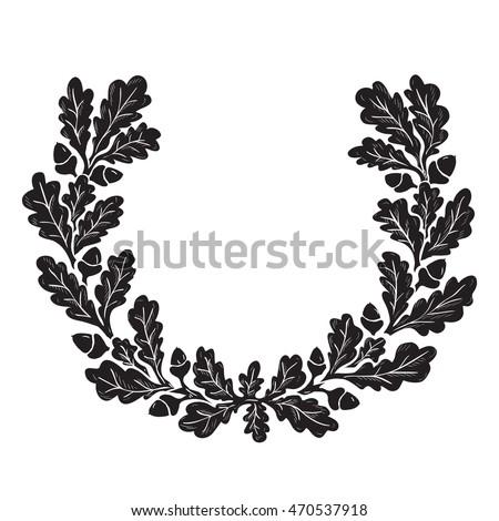artistic hand drawn illustration oak wreath stock vector royalty