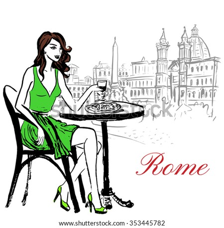 Artistic hand drawn sketch of woman sitting in cafe on Piazza Navona in Rome, Italy