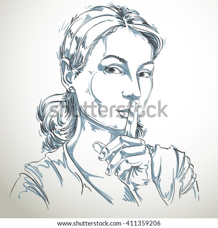 Artistic hand-drawn vector image, black and white portrait of delicate stylish girl making a hush gesture with her finger close to mouth. Emotions theme illustration. Be quiet idea. - stock vector
