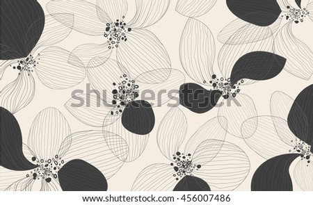 Artistic lotus flower petals on white background. Outline vector creative pattern, eps10 modern design floral template - stock vector