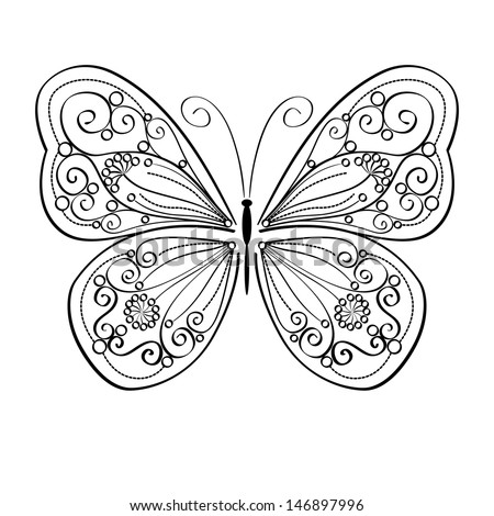 Artistic monochrome pattern with butterflies,  isolated on white background. vector illustration. - stock vector