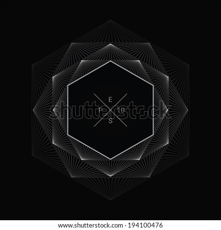 Artistic, ornamental background line graphics as hexagon shape text box for web page, brochure, banner- vivid white version - stock vector