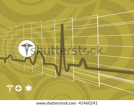 artistic pattern medical background with heart beat and medical sign - stock vector