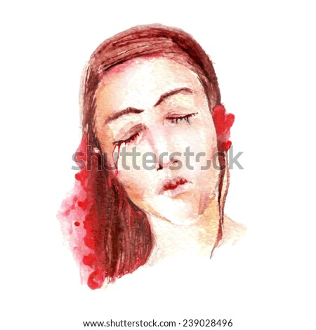 Artistic portrait of a sad woman with red blots and hearts. Vectorized sketch. - stock vector