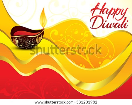 artistic red diwali background vector illustration - stock vector